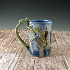 Botanic2Ceramic:   Blue Water and Cattails Porcelain Coffee Mug with Frog, Butterfly and Dragonfly