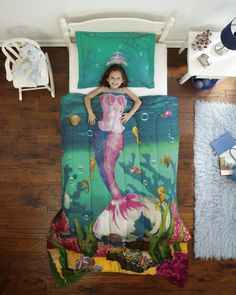 Decorating theme bedrooms - Maries Manor: underwater bedroom ideas - under the sea theme bedrooms - mermaid theme bedrooms - sea life bedrooms - Little mermaid princess Ariel - Sponge Bob theme bedrooms - mermaid bedding - Disney's little mermaid Kids Comforter Sets, Girls Bedding Sets, Girls Bedroom, Blue Comforter, Beach Bedrooms, Girl Bedding, Green Bedding, Kid Bedrooms, Decorating Rooms