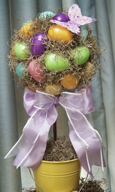 Love, Laughter & Decor: Easy, Easter Egg Topiary | Tutorial  Pretty and bright.  Nice idea!
