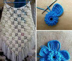Aprende con este lindo foto-tutorial a realizar las flores para un hermoso chal o poncho tejido a crochet o ganchillo.