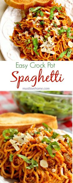 Easy Crock Pot Spaghetti is the real deal - with just beef, pasta , sauce and a few spices it is a cinch to make and full of flavor. This recipe is a definite thumbs up! #mustlovehomecooking #pasta #tomatosauce #slaowcookermeal #buzzfeed