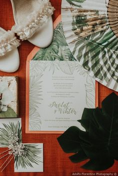 Stunning coral and green invitations styled with shoes fan and palms - Tropical and fun style {Adolfo Florentino Photography} Destination Wedding Inspiration, Destination Weddings, Romantic Weddings, Real Weddings, Dominican Republic Wedding, Floral Watercolor, Watercolor Wedding, Burgundy Wedding, Floral Wedding Invitations