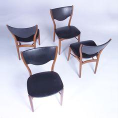 Finn Juhl; Teak and Leather Sidechairs for Bovirke, 1950s.