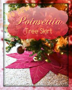 No-Sew Poinsettia Tree Skirt #HolidayCheer