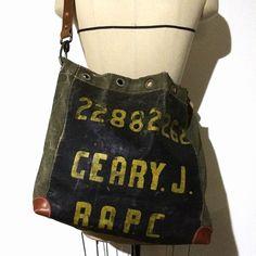Vintage RAPC duffle bag remake shoulder bag IND_BNP_00072 W45cm H35cm D9cm ショルダー68cm〜83cm