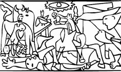 Pablo Picasso Coloring Pages - Free Coloring Page Of Pablo Picasso Painting Guernica Pablo Picasso, Picasso Kids, Picasso Guernica, Kunst Picasso, Art Picasso, Picasso Drawing, Picasso Paintings, Online Coloring Pages, Free Coloring Pages