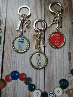 """Assorted """"Sewing Theme"""" button keyrings - Page 3"""