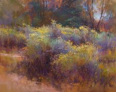 Chamisa Aglow by Richard McKinley Pastel ~ 16 x 20 Pastel Landscape, Abstract Landscape Painting, Watercolor Landscape, Landscape Art, Landscape Paintings, Watercolor Paintings, Watercolor Artists, Abstract Oil, Abstract Paintings