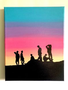 """BTS """"Love Yourself"""" & """"Sunset Silhouette"""" acrylic paintings – Hand-painted on canvas - Malerei Kunst Cute Canvas Paintings, Small Canvas Art, Easy Canvas Painting, Mini Canvas Art, Easy Paintings, Acrylic Paintings, Sunset Acrylic Painting, Sunset Silhouette, Silhouette Painting"""