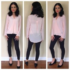 Peach blouse Very cute peach long sleeve blouse can also be rolled up and worn as quarter sleeve Fabric: 88% Nylon 12% Spandex Tops Blouses