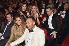 Pin for Later: Stars Suit Up and Hit the Stage to Pay Tribute to Frank Sinatra  Pictured: Katharine McPhee, Behati Prinsloo, Adam Levine, Chrissy Teigen, and John Legend