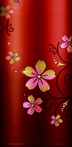 Luxury Wallpaper, Red Wallpaper, Wallpaper Backgrounds, Floral Backgrounds, Flower Iphone Wallpaper, Cellphone Wallpaper, Zen Pictures, Kawaii Background, Cute Wallpapers