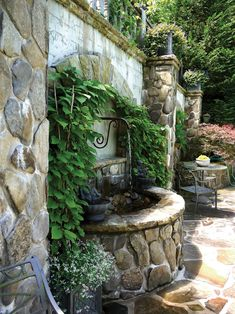 15 Patio Fountains That Ooze Tranquility McCaull Garden Fountain Stone Garden Fountains, Patio Fountain, Fountain Design, Garden Stones, Outdoor Fountains, Water Fountains, Fountain Ideas, Backyard Water Feature, Ponds Backyard