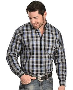 George Strait Long Sleeve Button down Collar Plaid Shirt - Black/Blue/White MGSX057 From the George Strait Shirt Collection, the long-sleeve shirt has a straight back yoke and one button thru pocket w
