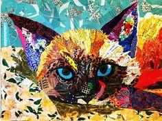 Cat No Judgement torn paper collage