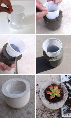 Diy garden pots cement ideas 27 trendy ideas - All About Diy Concrete Planters, Concrete Crafts, Concrete Projects, Diy Planters, Diy Projects, Concrete Furniture, Diy Garden, Garden Pots, Mini Cactus Garden