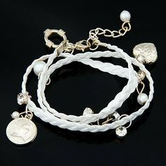 Fashion Charms Heart Pearl Bracelet Bangle White Color Jewelry4lady. $3.99