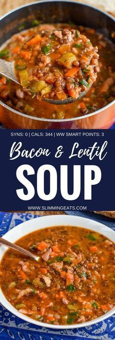 Slimming Eats Syn Free Bacon and Lentil Soup - gluten free, dairy free, Slimming World and Weight Watchers friendly astuce recette minceur girl world world recipes world snacks Lentil And Bacon Soup, Lentil Soup Recipes, Brown Lentil Soup, Brown Lentils, Batch Cooking, Cooking Recipes, Healthy Recipes, Detox Recipes, Healthy Lunches