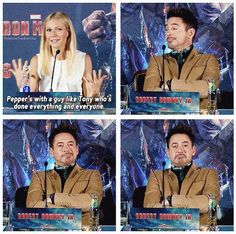 Pepper's with a guy like Tony who's done everything and everyone || Gwyneth Paltrow, Robert Downey Jr ||  Iron Man 3 Interview || 500px × 497px || #cast #pepperony