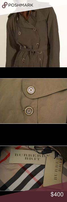 Olive Green Burberry Buckingham Trench Coat. Beautiful Olive green Burberry Trench. Size 14! Worn once! I have the tags and everything. Retail for 795$ plus tax. I know Poshmark states a 14 is plus size but keep in mind Burberry typically runs small.  This is fairly fitted in the shoulders and roomy throughout though. Also, tags are not attached, I kept that stock photo because I wanted to show the inside. I have them and will send the tags with purchase. Burberry Jackets & Coats Trench…