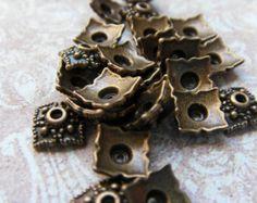 60 Pcs Antique Bronze Bead End Caps Findings, Ornate Bead Caps