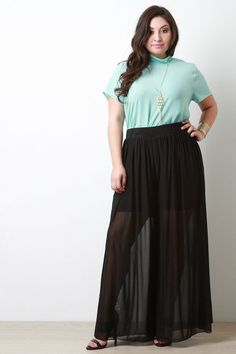 88b98302d97 Plus size maxi pants featuring semi-sheer mesh overlay