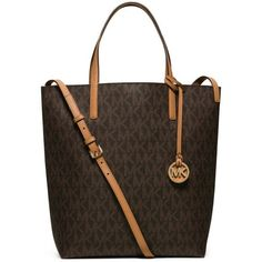 Michael Michael Kors Brownpeanut Hayley Large Convertible Tote ($198) ❤ liked on Polyvore featuring bags, handbags, tote bags, print tote, pvc handbags, pvc purse, michael michael kors purse and brown tote
