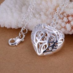 Free Shipping silver plated Jewelry Pendant Fine Fashion Cute   Stereo Heart Necklace Pendants Top Quality CP010