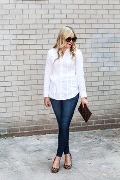 Keep it Classic: dark wash skinnies, leopard shoes, red lip, white shirt, metallic necklace