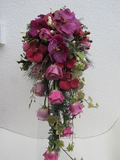 vanda orchids and roses wired shower bouquet
