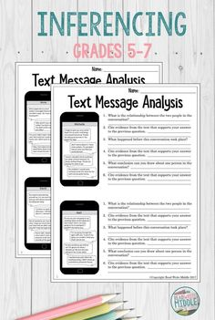 Text Message Analysis Making Inferences and Citing EvidenceYou can find Middle school english and more on our website.Text Message Analysis Making Inferences and Citing Evidence 7th Grade Reading, 7th Grade Ela, Middle School Reading, Middle School English, Sixth Grade, Seventh Grade, Third Grade, 7th Grade English, Teaching 6th Grade