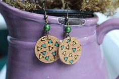 Martinuska / S mini trojuholníkmi/cork and burned earrings