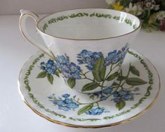 Royal Kendall vintage 1980's blue floral Teacup and saucer