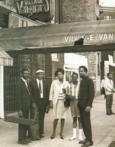Pharoah Sanders, John Coltrane, Alice Coltrane, Jimmy Garrison and Rashied Ali outside the Village Vanguard, New York, May 28, 1966