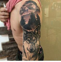 Idea for tattoo Bike Tattoos, Skull Tattoos, Animal Tattoos, Body Art Tattoos, Sleeve Tattoos, Cool Tattoos, Portrait Tattoos, Native American Wolf, Native American Tattoos