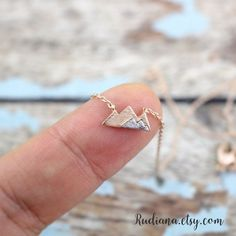 Rose Gold Mountain Necklace, Dainty Mountain Pendant Necklace, Mountain Necklace, Birthday Gift,6028