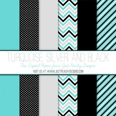 Free Digital Paper: Turquoise, Silver and Black