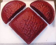 To make a heart shaped cake, use one 8 inch square pan and one 8 inch round pan