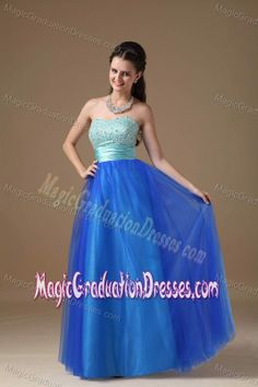 Column Strapless Blue Beaded Floor-Length Graduation Dress with Lace-up Back
