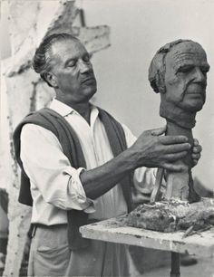 Marino Marini Working On A Portrait Of Henry Moore