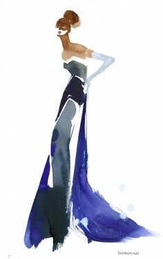 Fashion illustration by Bil Donovan, ca 2013, Mary Katrantzou.