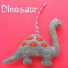 Dinosaur Ornament Pattern - Make a fun felt ornament with this easy pattern from Shiny Happy World. :-)