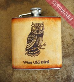Custom Stainless Steel & Leather Flask - Owl | Home Dining & Barware | Joe V. Leather | Scoutmob Shoppe | Product Detail