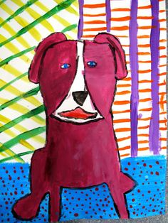 Colorful pets....Blue Dog inspired
