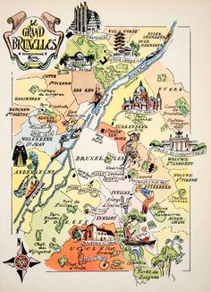 1950 Photolithograph Le Grand Bruzelles Belgium Map Art Ganshoren Etterbeek