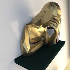 PDF à transformer en sculpture murale - Le papercraft 3D Low Poly, 3d Paper, Paper Toys, Origami 3d, Human Sculpture, Office Paper, Modelos 3d, Decoration, Transformers