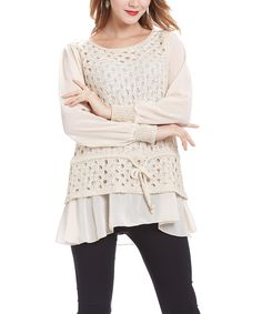 Love this Beige Crochet Sheer-Sleeve Layered Tunic by Simply Couture on #zulily! #zulilyfinds