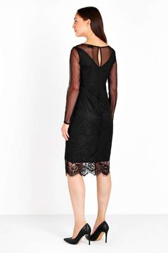 Black Crochet Lace Shift Dress - Occasion Dresses - Dresses - Wallis