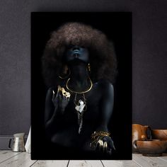 Fluffy Hair African Black Women Golden Finger Oil Painting on Canvas Cuadros Posters and Prints Wall Picture for Living Room