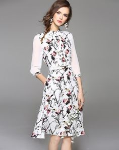 Check the details and price of this White 3/4 Sleeve Floral Print Midi Dress with Belt (White, WLZD) and buy it online. VIPme.com offers high-quality Day Dresses at affordable price.